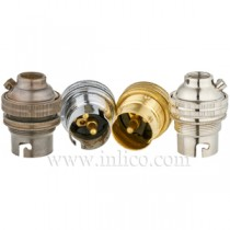 B22 Brass Lampholders with Threaded Skirt
