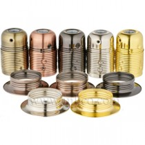 E27 Plated Steel Lampholders with Threaded Skirt