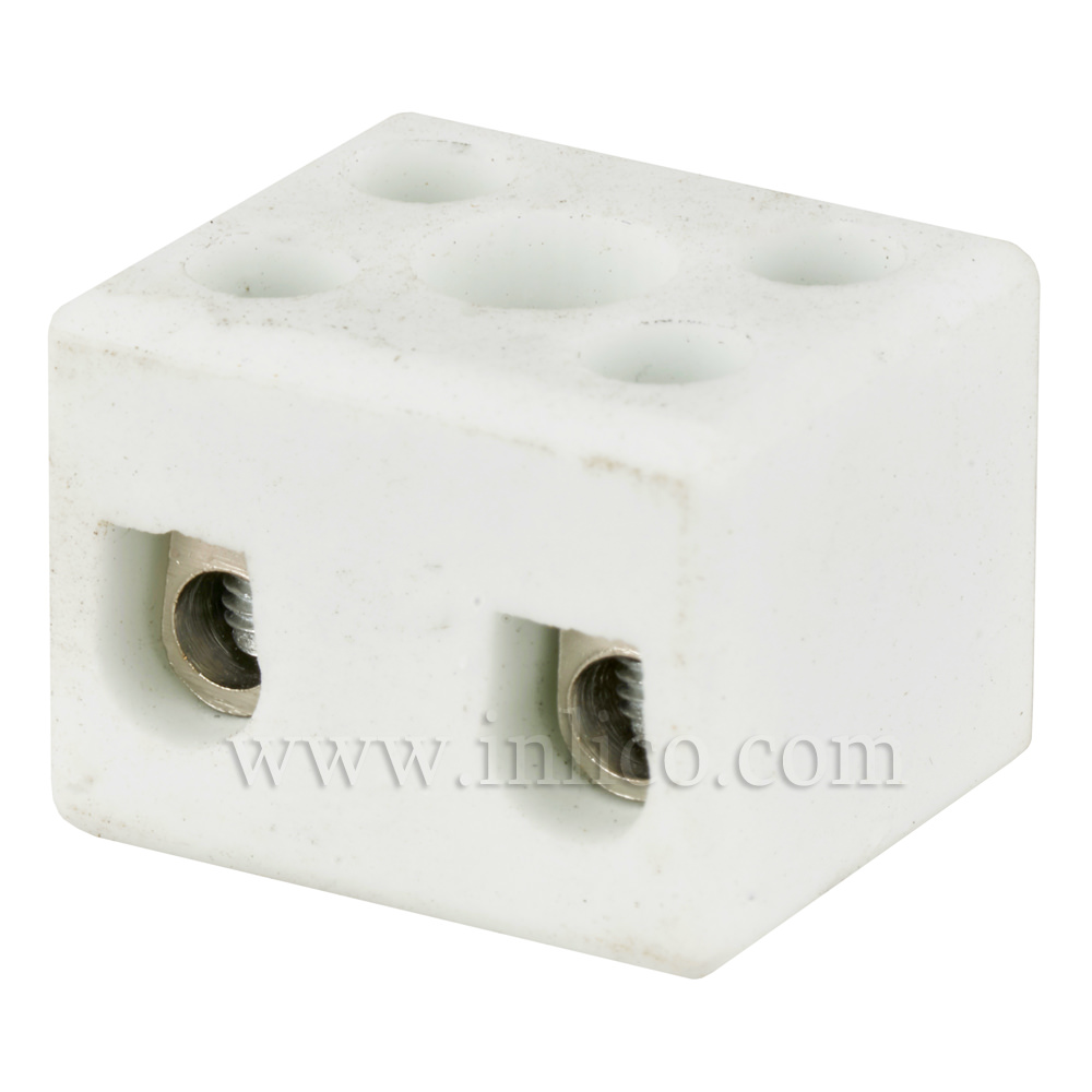 5A 2 WAY PORCELAIN CONNECTOR BLOCK