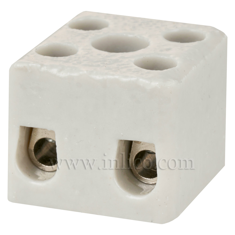15A 2 WAY PORCELAIN CONNECTOR BLOCK