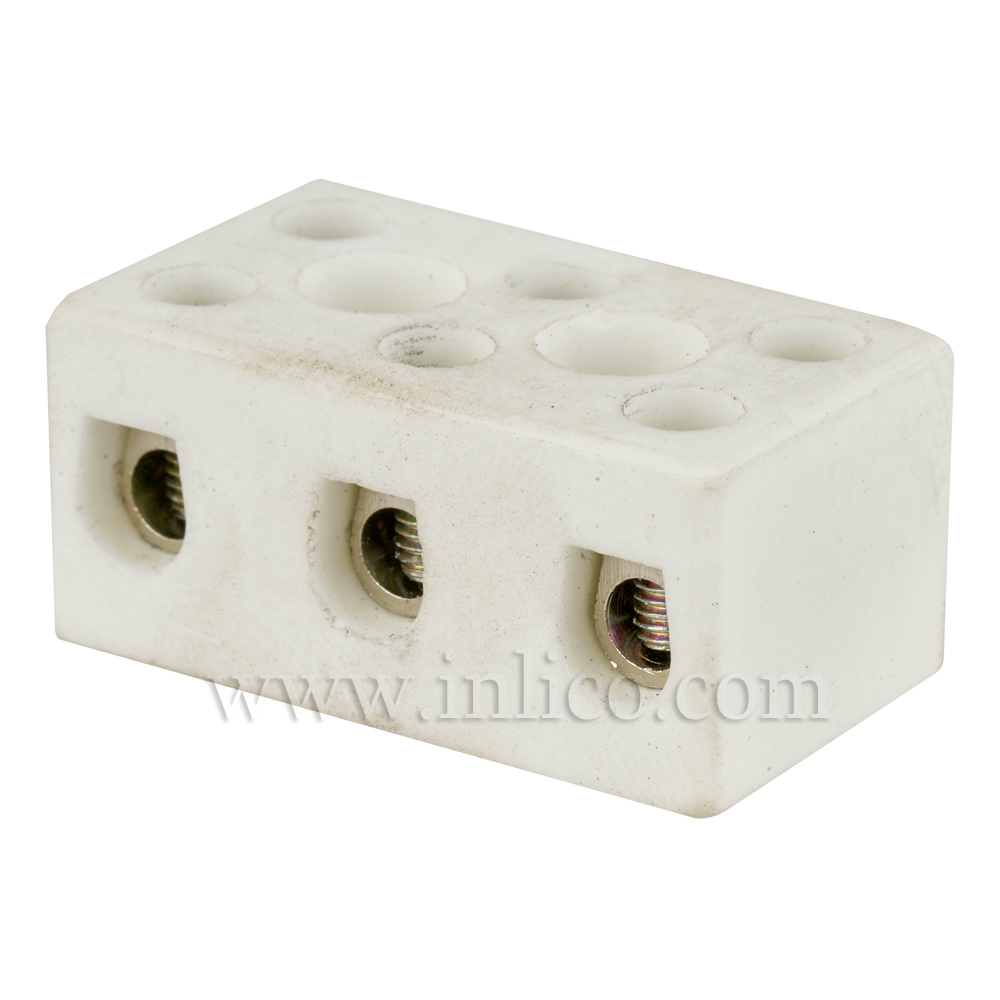5A 3 WAY PORCELAIN CONNECTOR BLOCK