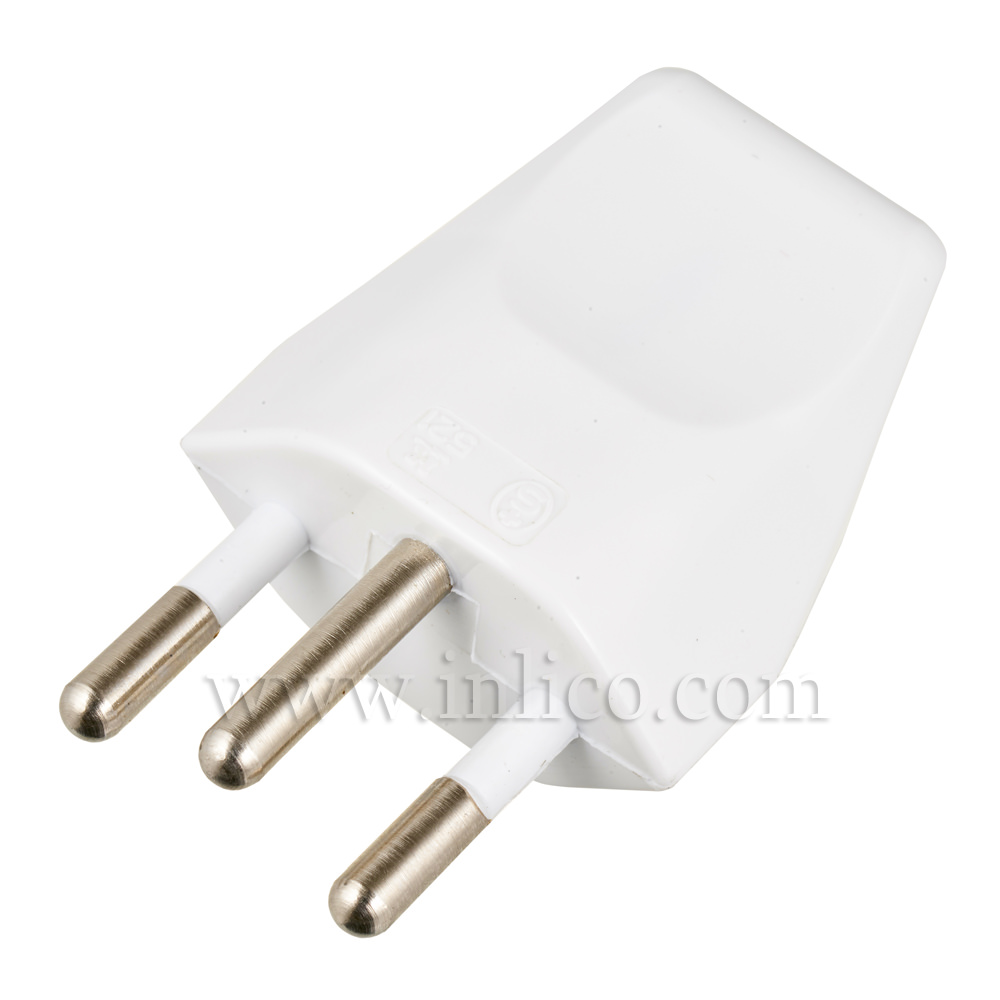 10AMP 3 PIN EARTHED SWISS PLUG WHITE TO STANDARDS SEC1011:1998 AND IEC60884-1:2002