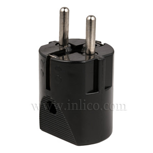 REWIRABLE SCHUKO PLUG BLACK  CEE 7/4 AND CEE 7/7 (TYPE F AND TYPE E COMPATIBLE)  TO STANDARD IEC60884-1:2002 VDE APPROVED MAX CURRENT 16 AMPS