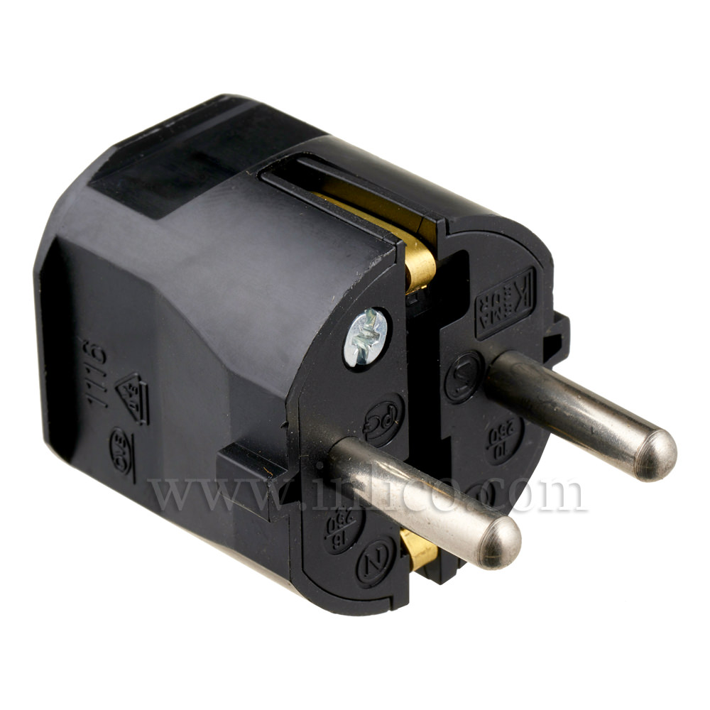 REWIRABLE SCHUKO PLUG TYPE F BLACK VDE APPROVED