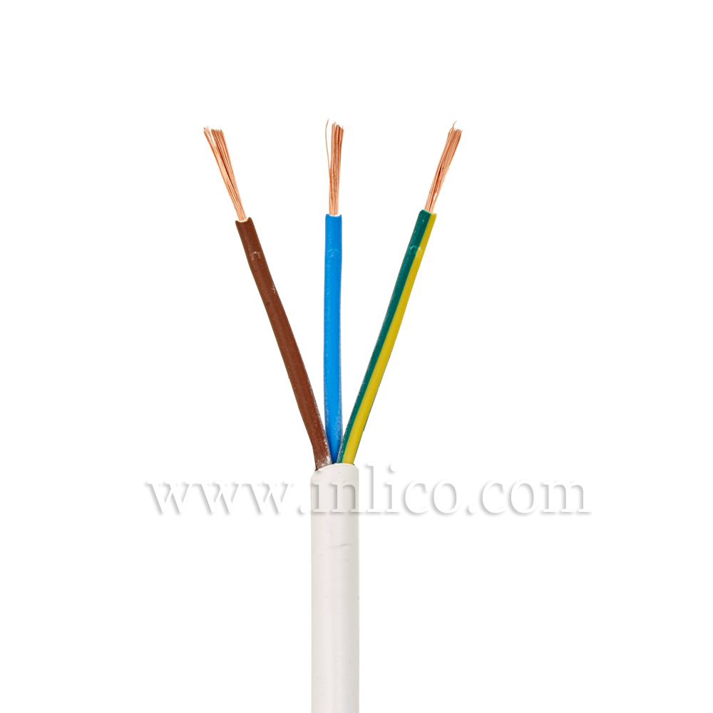 3X.5 WHITE CABLE HO3VV-F BS6500:2000  <HAR> HARMONISED