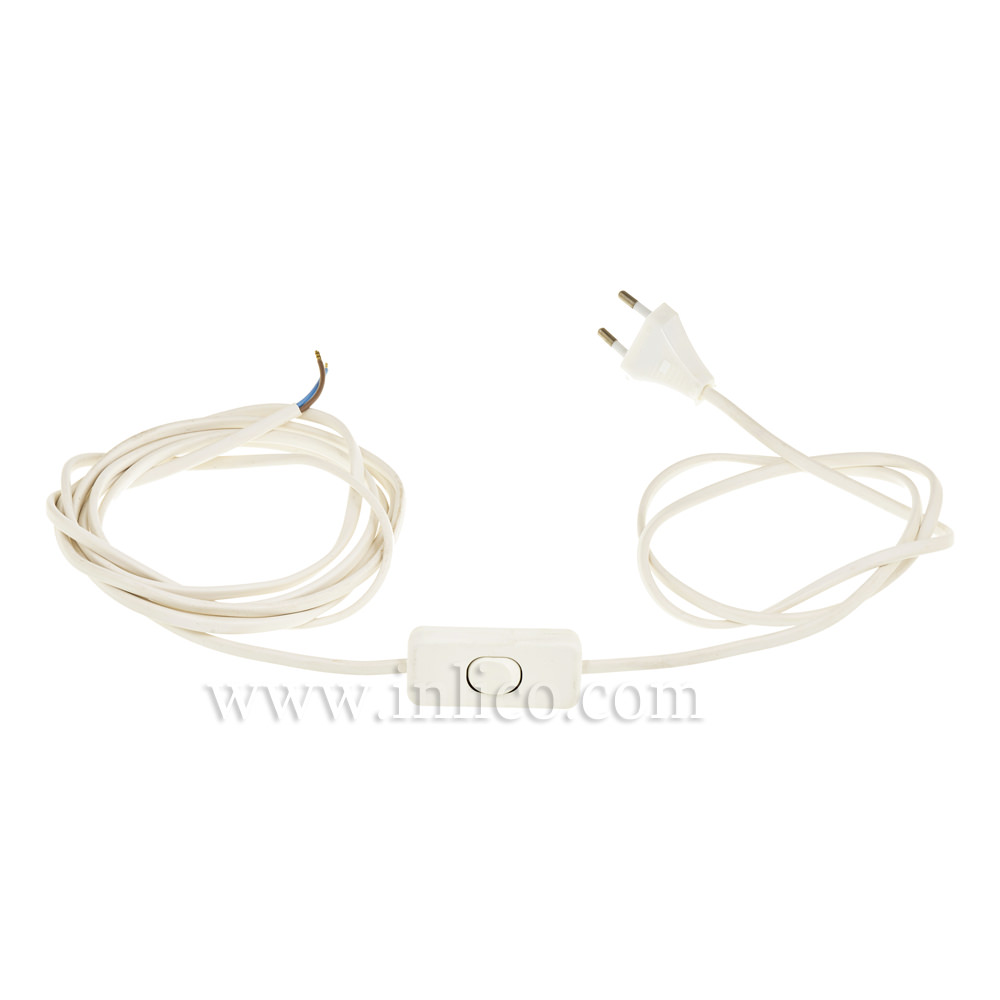 2M WHITE INLINE CORD SET 2 X .75MM CABLE SPACE 80/120 WITH 2 PIN EUROPLUG CABLE 2192Y  HARMONISED HO3VVH2-F
