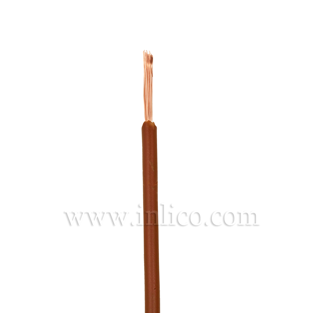 BROWN SINGLE CORE 0.5MM SQ CABLE HO5V-K BS6500:2000