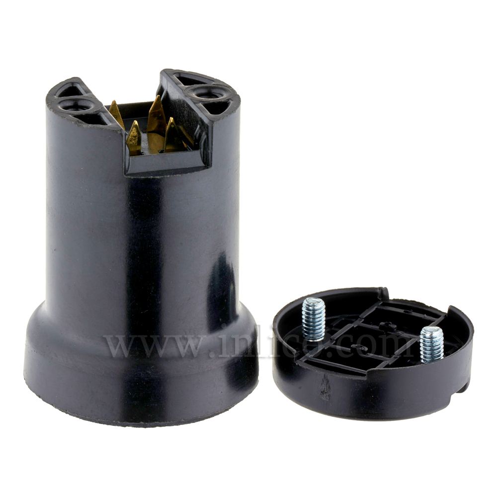 ES/E27 FESTOON LAMPHOLDER RATED MAX 40W WITH INSULATION PIERCING TERMINALS FOR USE WITH HO5RNH2-F 2 X 1.5MM CABLE  - SUPPLIED WITH ROUND CAP