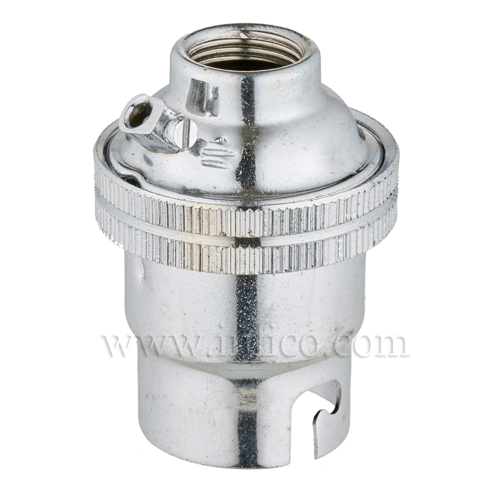 10MM B22 BRASS PLAIN SKIRT LAMPHOLDER CHROME FINISH UNSWITCHED SCREW TERMINALS EARTHED STANDARD BS EN 61184
