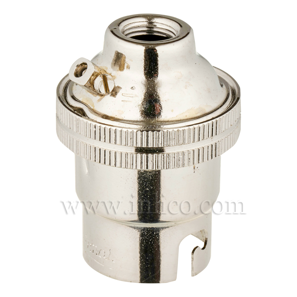 10MM B22 BRASS PLAIN SKIRT LAMPHOLDER NICKEL FINISH UNSWITCHED SCREW TERMINALS EARTHED STANDARD BS EN 61184