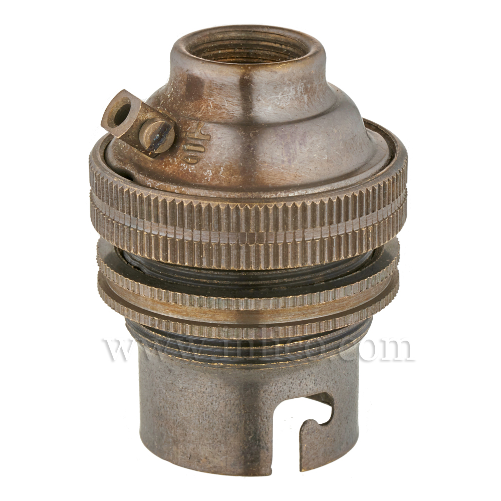 10MM B22 BRASS THREADED SKIRT LAMPHOLDER WITH SHADE RING ANTIQUE FINISH UNSWITCHED SCREW TERMINALS EARTHED STANDARD BS EN 61184