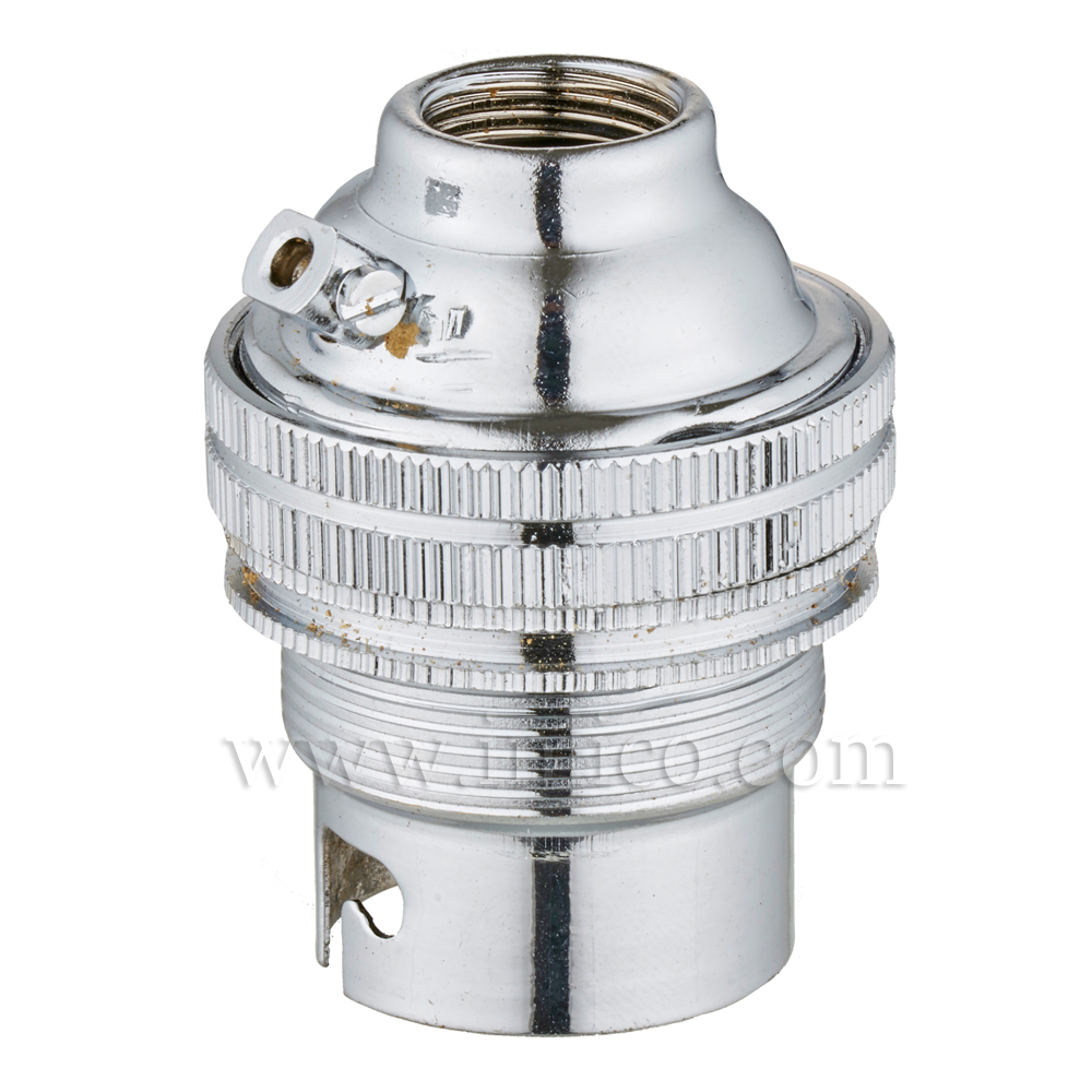 10MM B22 BRASS THREADED SKIRT LAMPHOLDER WITH SHADE RING CHROME FINISH UNSWITCHED SCREW TERMINALS EARTHED STANDARD BS EN 61184