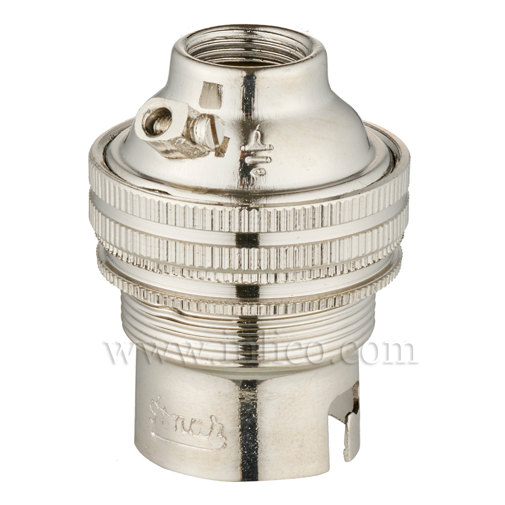 10MM B22 BRASS THREADED SKIRT LAMPHOLDER WITH SHADE RING NICKEL FINISH UNSWITCHED SCREW TERMINALS EARTHED STANDARD BS EN 61184. TOTAL HEIGHT 37.8MM