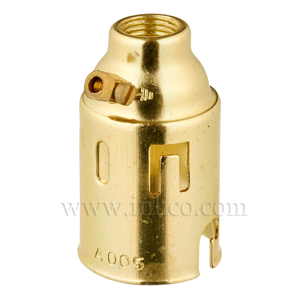 B22 BRASS FINISH LAMPHOLDER + EARTH TO BS5042 1987 AND BSEN 61184:1995