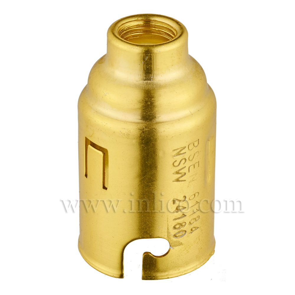 B22 BRASS FINISH LAMPHOLDER UNEARTHED TO BS5042 1987 AND BSEN 61184:1995