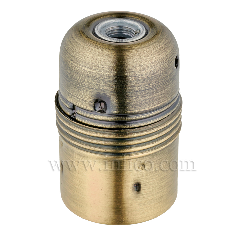 PLAIN SKIRT E27 METAL LAMPHOLDER ANTIQUE BRASS FINISH WITH EARTHED CERAMIC INSERT  APPROVAL ENEC05 TO EN60238:2004