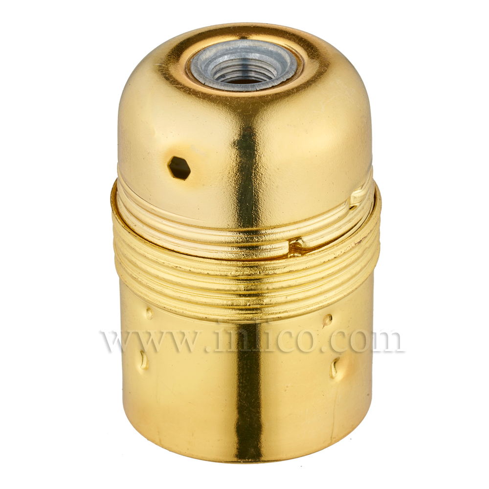 PLAIN SKIRT E27 METAL LAMPHOLDER BRASS PLATED WITH EARTHED CERAMIC INSERT APPROVAL ENEC05 TO EN60238:2004