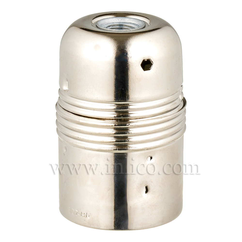 PLAIN SKIRT E27 METAL LAMPHOLDER NICKEL PLATED WITH EARTHED CERAMIC INSERT APPROVAL ENEC05 TO EN60238:2004