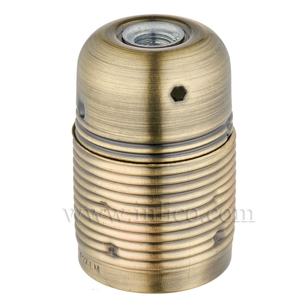 FULLY THREADED SKIRT E27 METAL LAMPHOLDER ANTIQUE BRASS FINISH  WITH EARTHED CERAMIC INSERT APPROVAL ENEC05 TO EN60238:2004