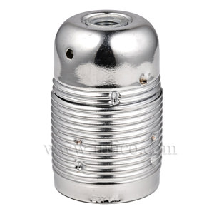 FULLY THREADED SKIRT E27 METAL LAMPHOLDER BRIGHT ZINC PLATE FINISH  WITH EARTHED CERAMIC INSERT APPROVAL ENEC05 TO EN60238:2004
