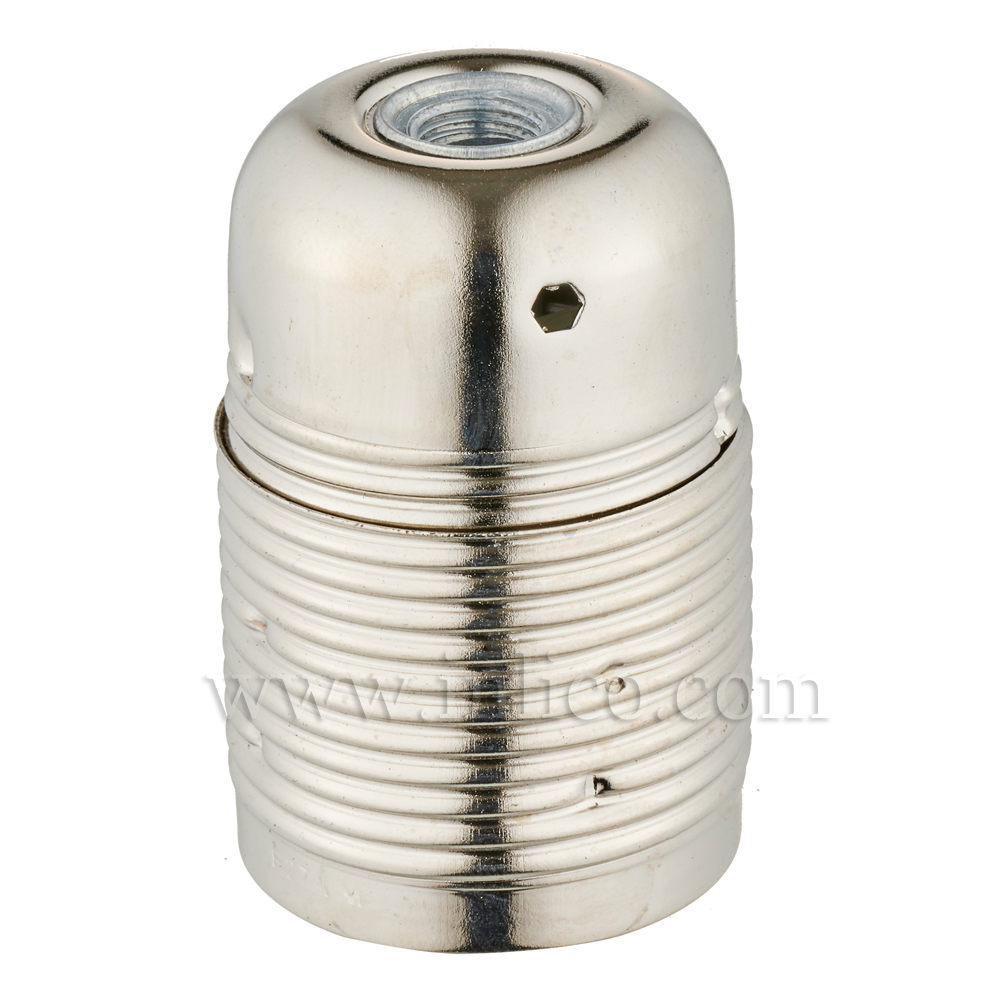 FULLY THREADED SKIRT E27 METAL LAMPHOLDER BRIGHT NICKEL FINISH  WITH EARTHED CERAMIC INSERT APPROVAL ENEC05 TO EN60238:2004