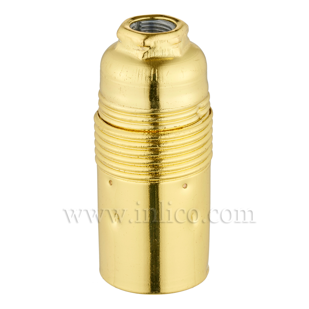 E14 METAL LAMPHOLDER BRASS PLATED  WITH PLAIN SKIRT AND EARTHED DOME VDE APPROVED APPROVAL ENEC05 TO EN60238:2004