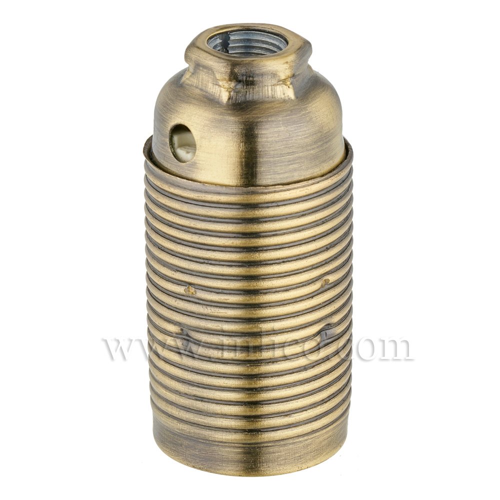 E14 METAL LAMPHOLDER ANTIQUE BRASS  WITH THREADED SKIRT AND EARTHED DOME VDE APPROVED APPROVAL ENEC05 TO EN60238:2004