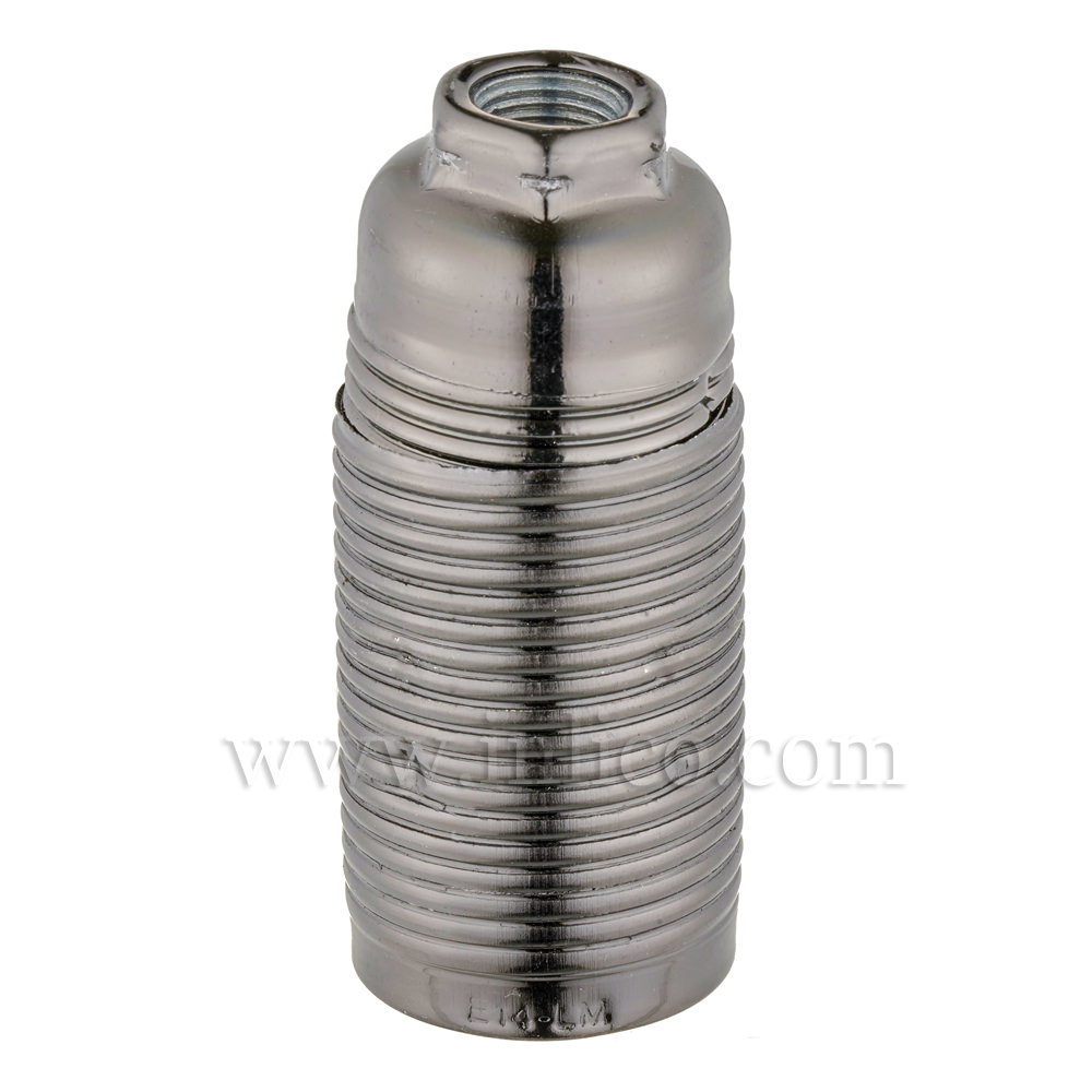 E14 METAL LAMPHOLDER BLACK BRONZE  WITH THREADED SKIRT AND EARTHED DOME VDE APPROVED APPROVAL ENEC05 TO EN60238:2004