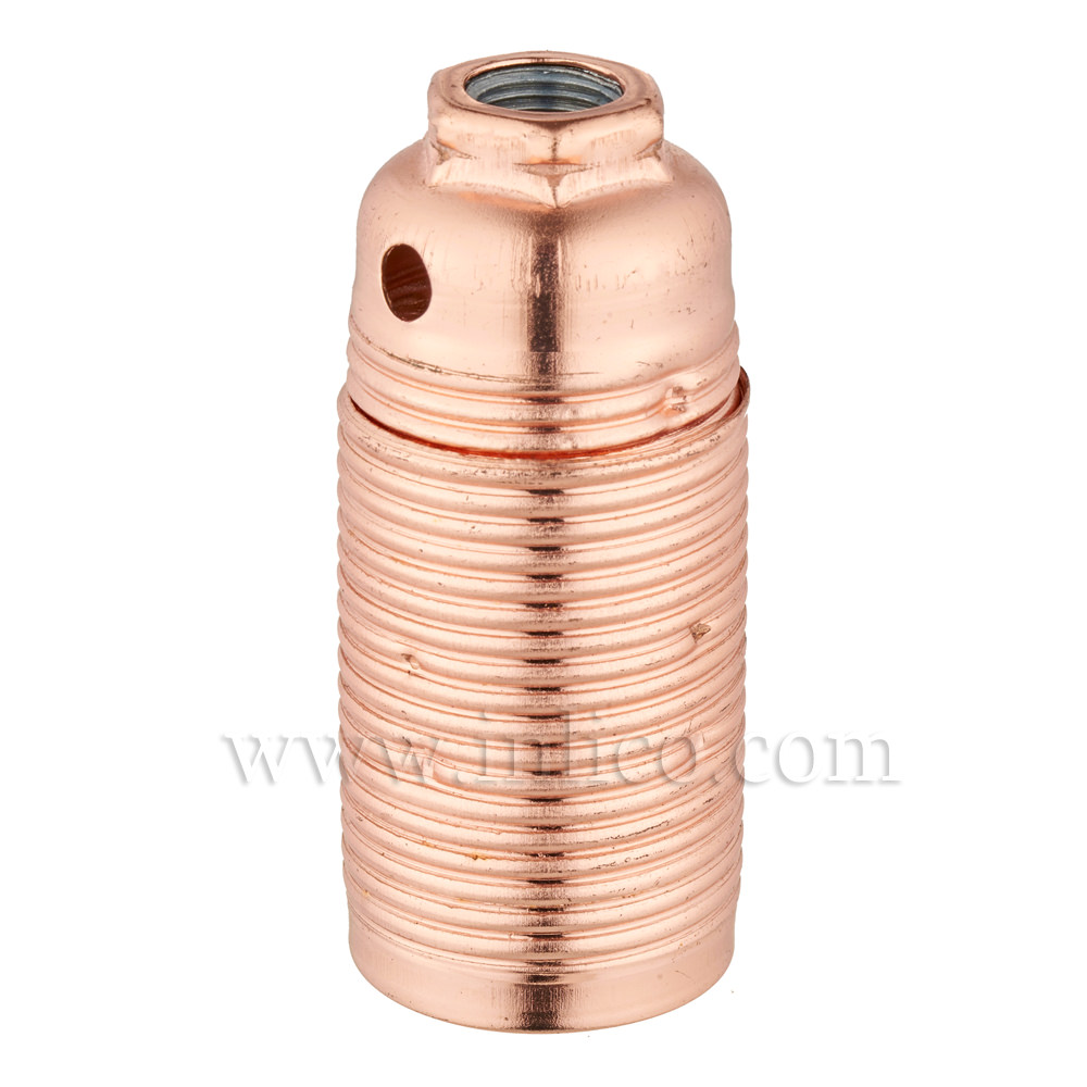 E14 METAL LAMPHOLDER BRIGHT COPPER  WITH THREADED SKIRT AND EARTHED DOME VDE APPROVED APPROVAL ENEC05 TO EN60238:2004