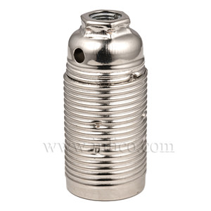 E14 METAL LAMPHOLDER BRIGHT ZINC PLATED  WITH THREADED SKIRT AND EARTHED DOME VDE APPROVED APPROVAL ENEC05 TO BS EN 60238:2018:2004