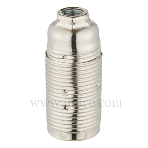 E14 METAL LAMPHOLDER NICKEL PLATED  WITH THREADED SKIRT AND EARTHED DOME VDE APPROVED APPROVAL ENEC05 TO EN60238:2004