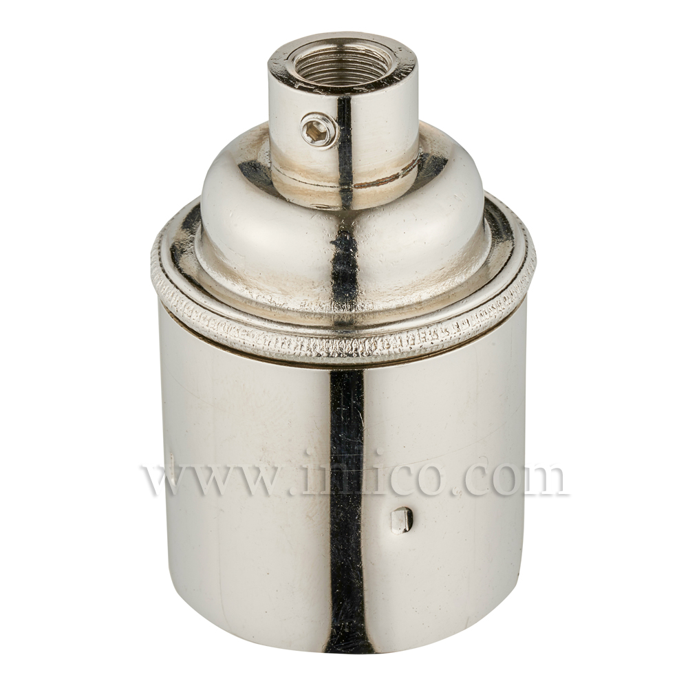 E27 BRASS NICKEL PLATED LAMPHOLDER PLAIN SKIRT M10 X 1 ENTRY WITH EARTH EN 60238:2004 + C11:2005 +A1:2008