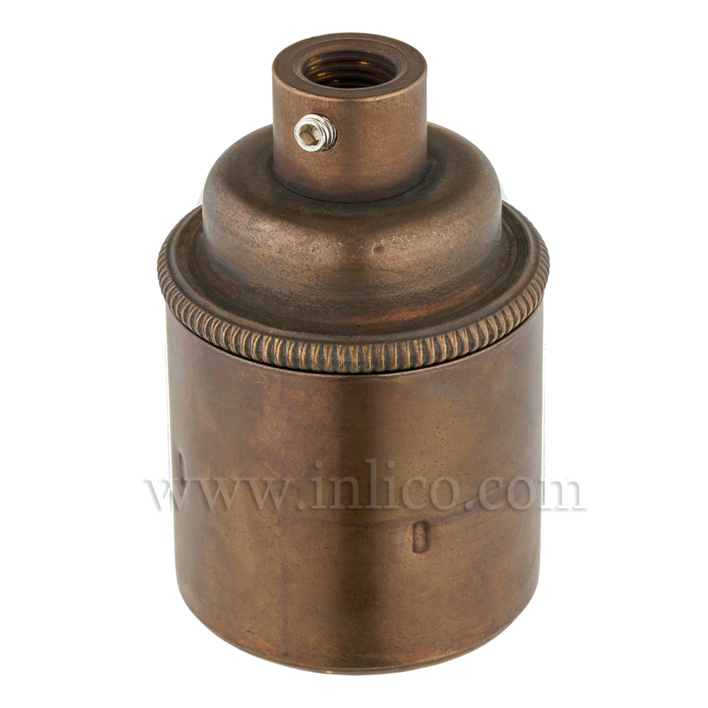 E27 BRASS OLD ENGLISH ANTIQUE LAMPHOLDER PLAIN SKIRT M10 X 1 ENTRY WITH EARTH EN 60238:2004 + C11:2005 +A1:2008