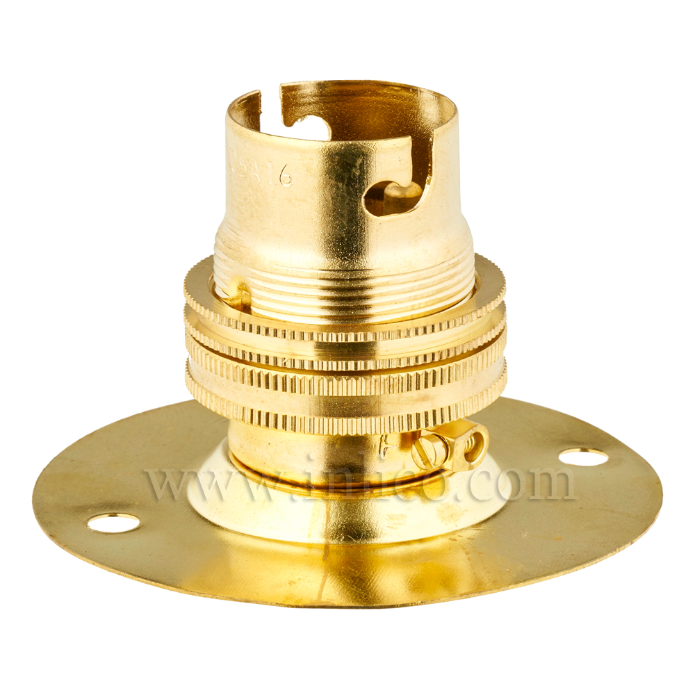 BRASS B22  BATTEN HOLDER  EARTHED WITH SHADE RING TWO HOLE FIXING