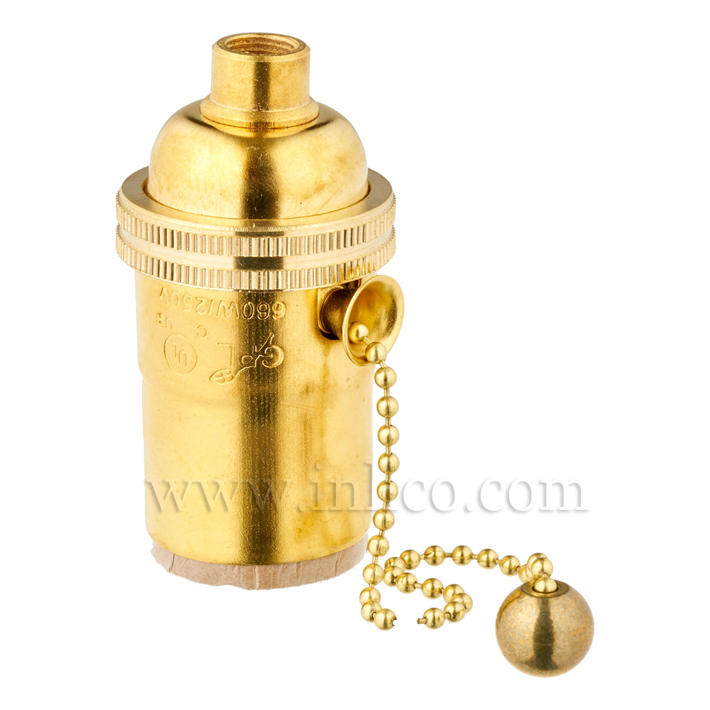 BRASS E26 L/HLDR WITH PULL CHAIN SWITCH