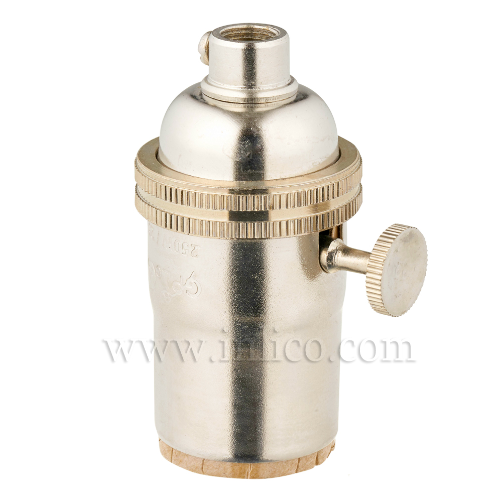 NICKEL PLATED BRASS E26 L/HLDR WITH 2 WAY ROTARY SWITCH