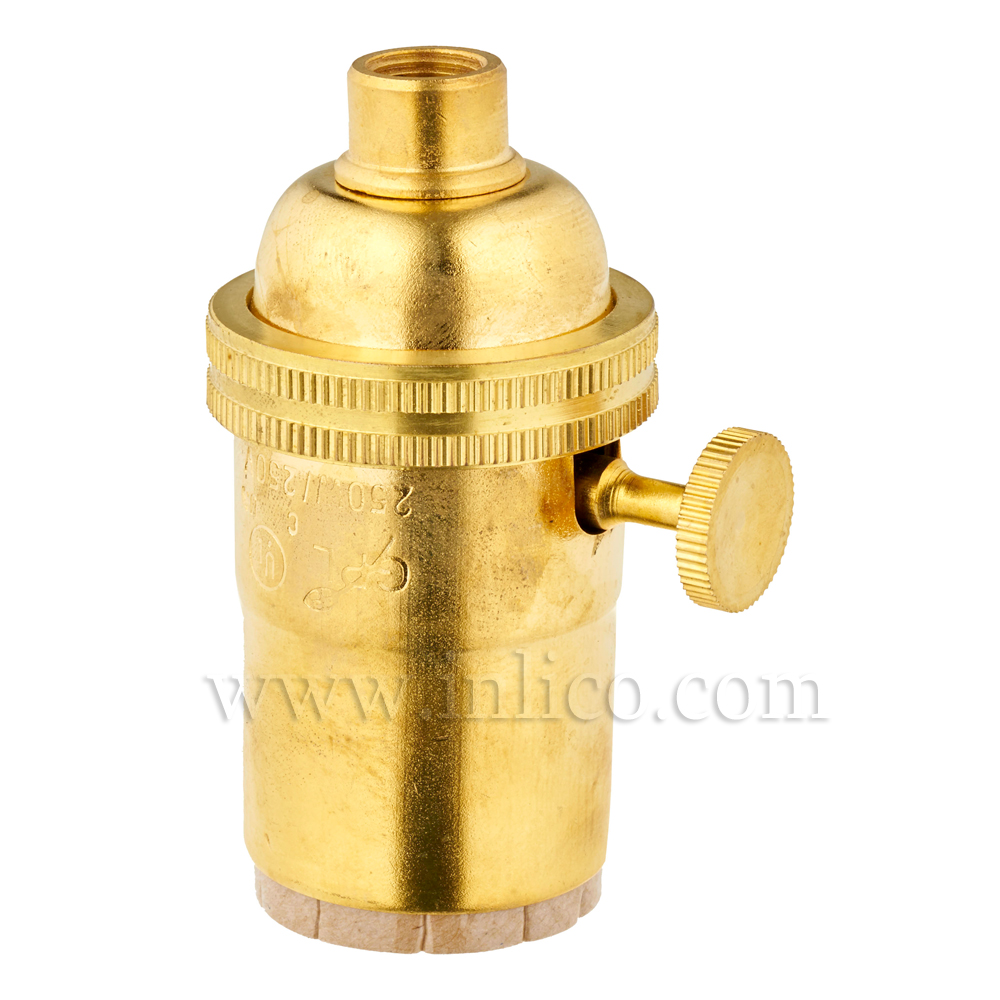 BRASS E26 L/HLDR WITH 2 WAY ROTARY SWITCH