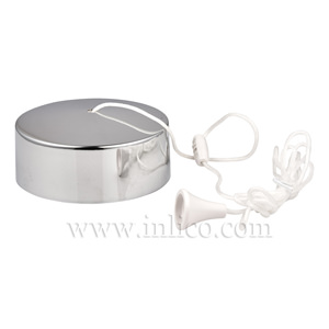 CEILING MOUNTED PULL CORD SWITCH  WITH 150MM PULL CORD CHROME FINISH