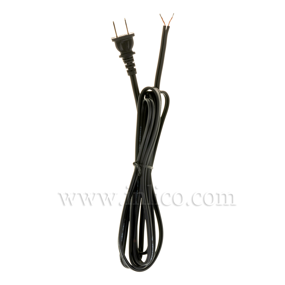 POLARISED UL APRVD PLUG LEAD 2.5MT BLACK SPT2 CABLE