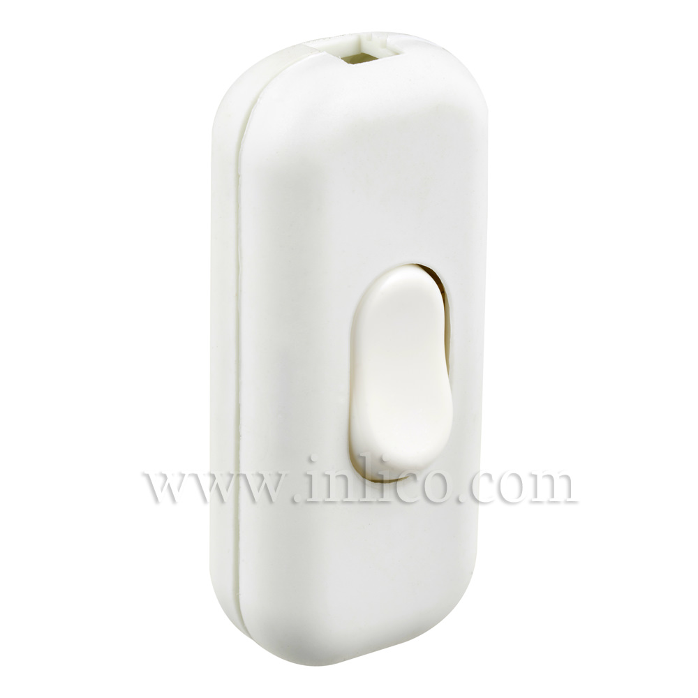 INLINE SWITCH FOR 2 & 3 CORE CABLE WHITE 6A SINGLE POLE SCREW TERMINALS 'S' MARKED