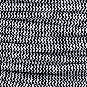 3x0.75MM FABRIC COVERED CABLE ZIG ZAG BLACK AND WHITE 3 X 0.75MM ROUND PVC/PVC FLEXIBLE CABLE COVERED IN  SILK BRAIDED SLEEVE  HO3VV-F BS6500:2000