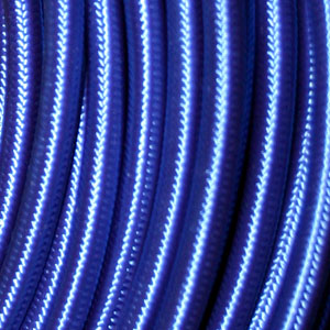 3x0.75MM FABRIC COVERED CABLE BLUE 3 X 0.75MM ROUND PVC/PVC FLEXIBLE CABLE COVERED IN BLUE FABRIC BRAIDED SLEEVE HO3VV-F BS6500:2000