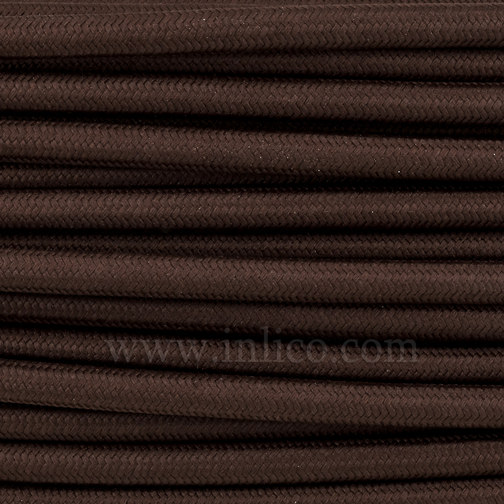 3x0.75MM FABRIC COVERED CABLE DARK BROWN 3 X 0.75MM ROUND PVC/PVC FLEXIBLE CABLE COVERED IN BRONZE SILK BRAIDED SLEEVE HO3VV-F BS6500:2000