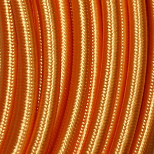 3x0.75MM FABRIC COVERED CABLE GILT 3 X 0.75MM ROUND PVC/PVC FLEXIBLE CABLE COVERED IN GILT FABRIC BRAIDED SLEEVE HO3VV-F BS6500:2000