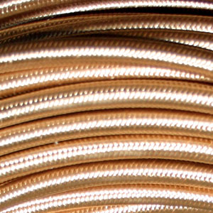 3x0.75MM FABRIC COVERED CABLE GOLD 3 X 0.75MM ROUND PVC/PVC FLEXIBLE CABLE COVERED IN GOLD SILK BRAIDED SLEEVE HO3VV-F BS6500:2000