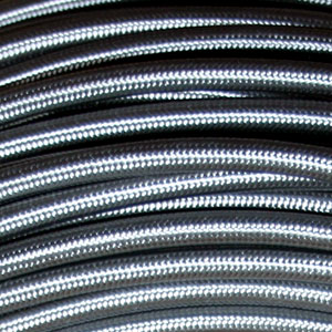 3x0.75MM FABRIC COVERED CABLE GREY 3 X 0.75MM ROUND PVC/PVC FLEXIBLE CABLE COVERED IN GREY FABRIC BRAIDED SLEEVE HO3VV-F BS6500:2000