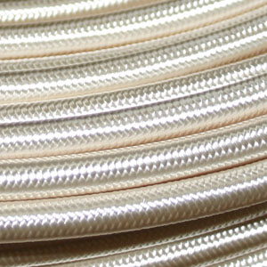 3x0.75MM FABRIC COVERED CABLE IVORY 3 X 0.75MM ROUND PVC/PVC FLEXIBLE CABLE COVERED IN IVORY SILK BRAIDED SLEEVE HO3VV-F BS5025:2011