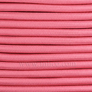 3x0.75MM FABRIC COVERED CABLE PINK 3 X 0.75MM ROUND PVC/PVC FLEXIBLE CABLE COVERED IN LIGHT PINK FABRIC BRAIDED SLEEVE HO3VV-F BS6500:2000