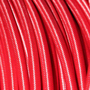 3x0.75MM FABRIC COVERED CABLE RED 3 X 0.75MM ROUND PVC/PVC FLEXIBLE CABLE COVERED IN RED FABRIC BRAIDED SLEEVE HO3VV-F BS5025:2011