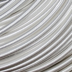 3x0.75MM FABRIC COVERED CABLE SILV 3 X 0.75MM ROUND PVC/PVC FLEXIBLE CABLE COVERED IN SILVER FABRIC BRAIDED SLEEVE HO3VV-F BS6500:2000